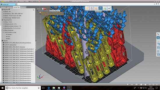 The CoreTechnologie 4D_Additive nesting feature can automatically fill an AM printer's work volume with parts, optimized to get the maximum number of parts while using the least amount of material. Note that similar parts have the same color for easy, quick part identification.
