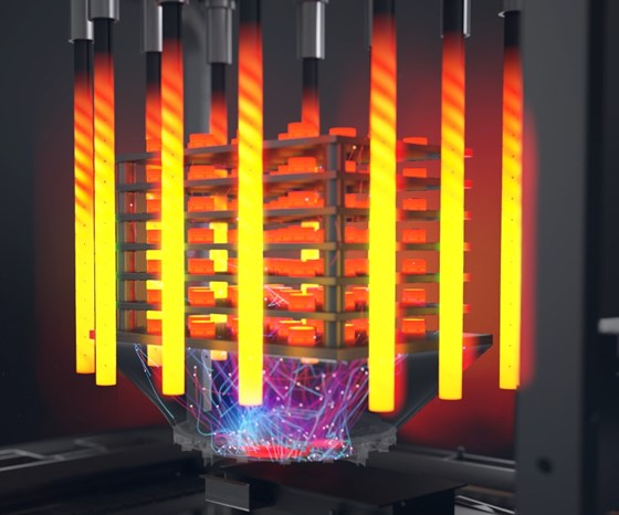 """In the Desktop Metal system, a multidirectional microwave antenna heats the """"green"""" part to just below its melting point, burning off the binding agent and fusing the metal particles."""