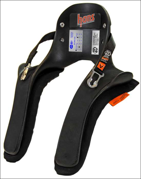 The first piece of racing safety equipment ever tested on a crash-test sled, the Head And Neck Support (HANS) device was developed with the help of Ford, GM and Mercedes to help eliminate basilar skull fractures. It comprehensively outperformed airbags and has an exemplary record in use.