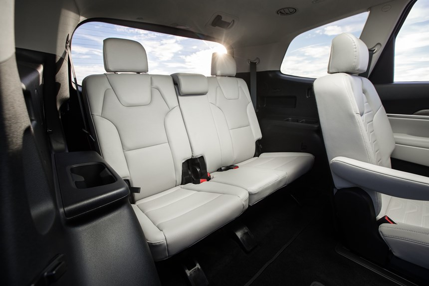 You can get into the third row of this eight-passenger crossover. And the rear seat actually reclines for a bit more comfort.
