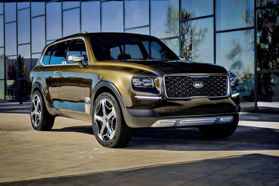 This is the 2016 Telluride Concept, which was introduced at the North American International Auto Show. Obviously the Kia designers in Irvine, California, got the look right, based on the similarity to the production version.