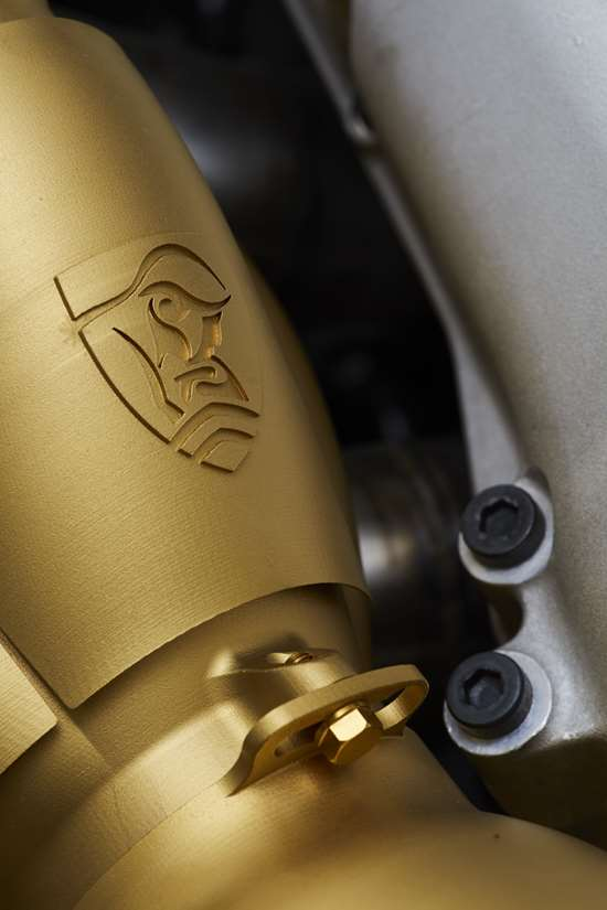 Exhaust collector 3D printed in titanium on 3D Systems' ProX DMP 320 then PVD coated in titanium nitride. (Image: Rodin Cars)