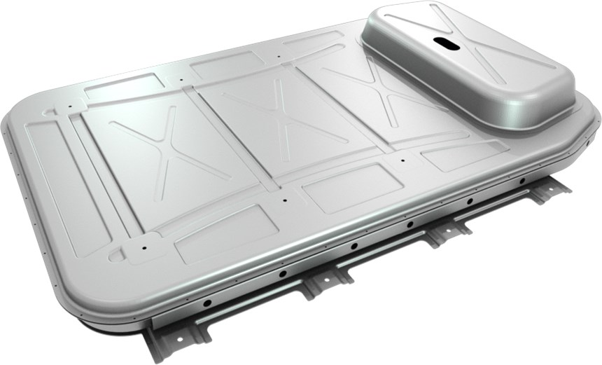 The aluminum sheet-based 90-kWh battery enclosure for EVs developed by Novelis. According to the company, this provides a weight save of about 50% compared to a steel design.