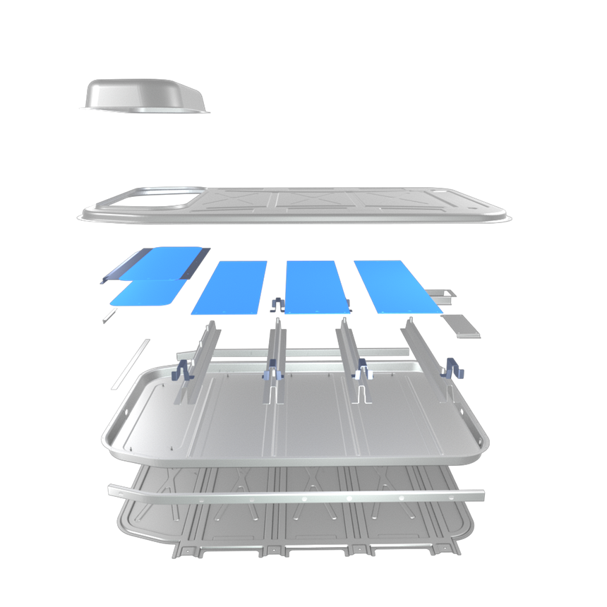 An exploded view of the battery enclosure. Aluminum grade use is tailored to meet the specific requirements of each component.