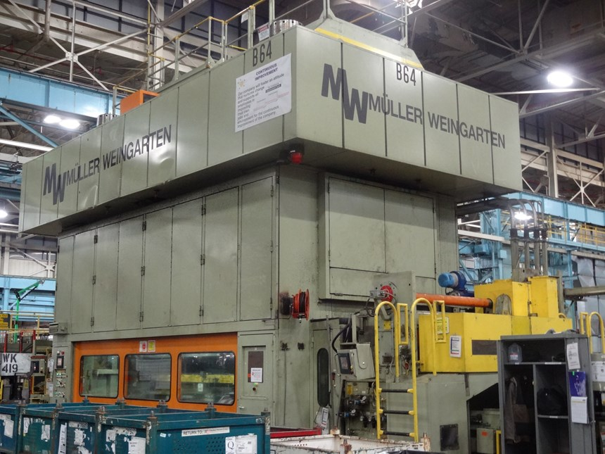 One of the high-speed stamping presses in the Parma Metal Center. More than 1,000 tons of metal per day are handled at the facility.