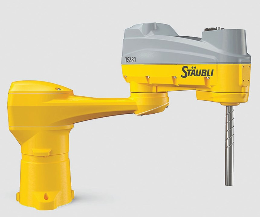 The TS2-80 SCARA has a compact design and a reach of 800 mm.