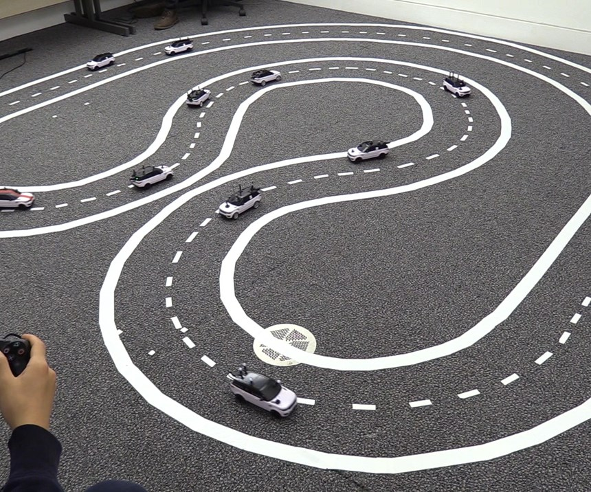 "A ""test track"" at the University of Cambridge sought to emulate our near future - when some cars will be communicating with each other, but most will remain off the grid."