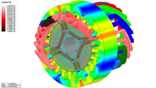 This screen shot from ANSYS Maxwell electromagnetic field simulation software shows an efficiency map and the speed-torque characteristics of an interior permanent magnet synchronous motor, significantly slashing the development time for optimizing such power plants within electric vehicles.