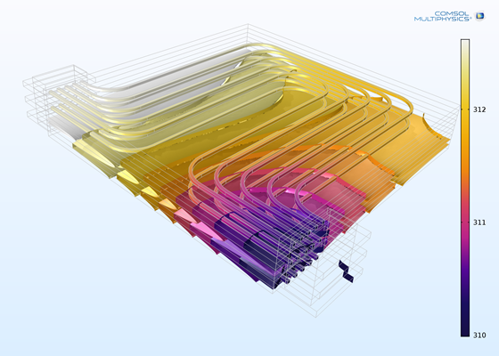 This COMSOL Multiphysics software simulation shows the temperature profile in a liquid-cooled battery pack. Fluid flow and temperature were modeled in 3D; a lumped 1D model of the Li-ion battery was used to calculate the heat source.
