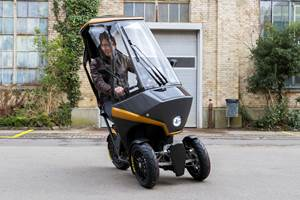 Adrian Burri, co-inventor of the BICAR, demonstrates the three-wheeler's road manners.