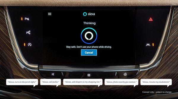Starting in 2020 new Chevrolet, Buick, GMC and Cadillac vehicles will include Alexa integration as a feature in the infotainment system.  image