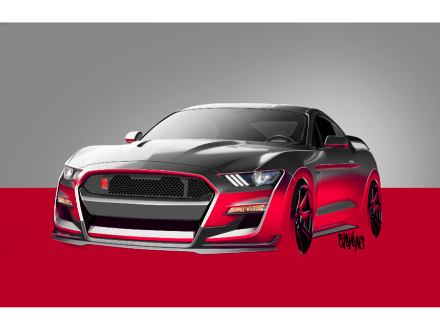 Thousands of sketches and three full-size clay models were produced to get the Shelby GT500 just right. These sketches are by exterior designer Christopher Stevens.