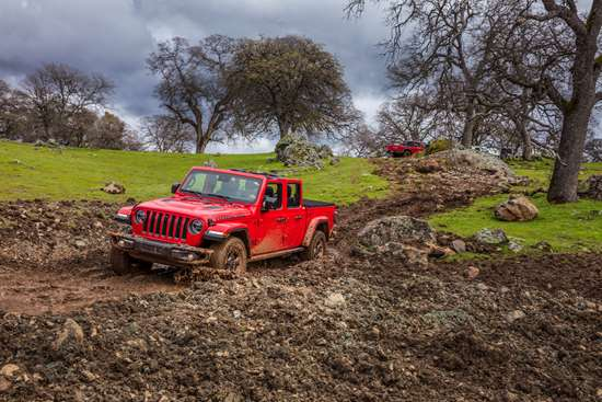 The 2020 Jeep Gladiator has a steel box on the back with a 35.5-ft3 volume that is capable of handling 1,600 pounds of payload. And the vehicle can handle conditions like this because sometimes it is a little tougher to get to Costco.