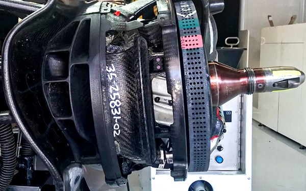 This brake cooling duct provides cool air flow to the brake disc and calliper.