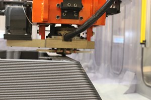 A close-up of the LSAM's polymer printing head in action. (Image: Thermwood Corp.)