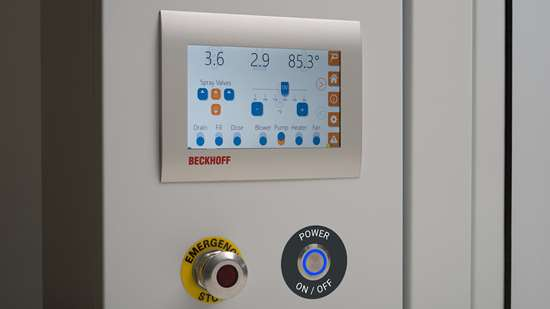 Close up of Beckhoff C6706 Panel PC with 7-inch touchscreen