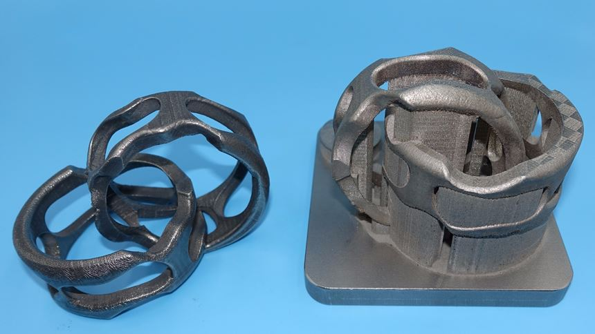 3d-printed part without and with support structures