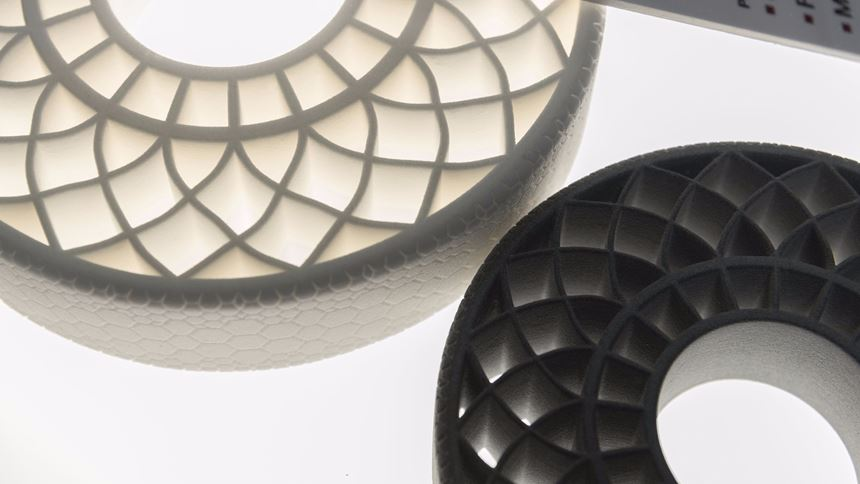 airless tires 3D printed with BASF thermoplastic polyurethane