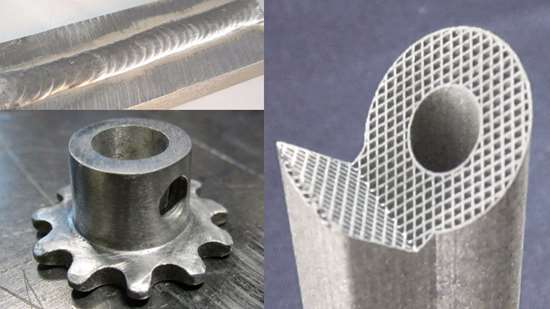 3D-printed composite parts show welding, grinding and lattices.