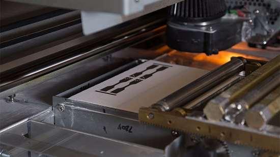 3D printer making test specimens