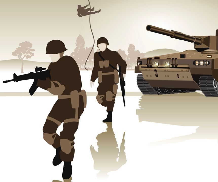 Soldiers and military equipment advancing