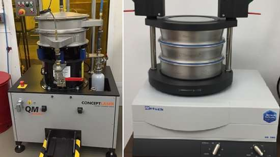 Mechanical sieving: (left) for large quantity sieving, (right) tabletop model for smaller quantities