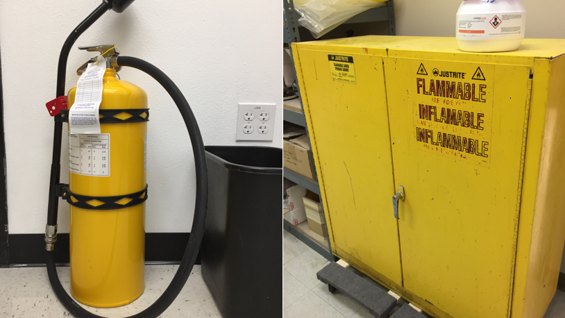 Class D Fire Extinguisher and Flammables Cabinet