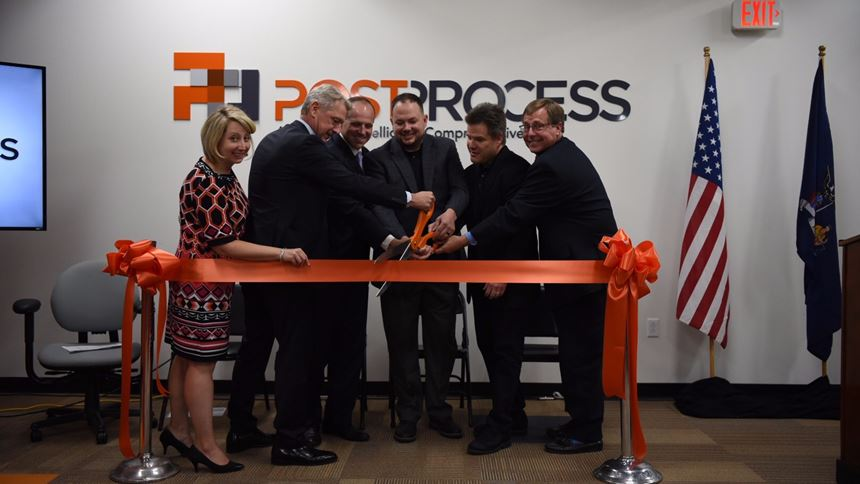 Ribbon-cutting ceremony at PostProcess Technologies' new headquarters.