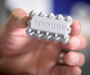 A metal piece additively manufactured by Renishaw