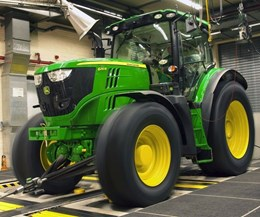 A John Deere tractor is tested at JD Werk Mannheim