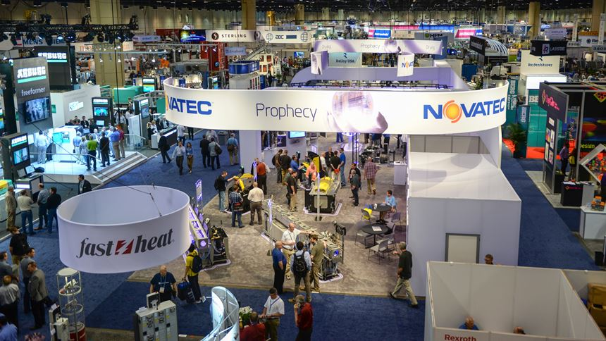 The show floor at NPE - The Plastics Show in 2015.