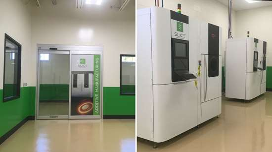Door to the 3D printing space at Slice Mfg. Studio and the company's two Arcam 10 EBM machines