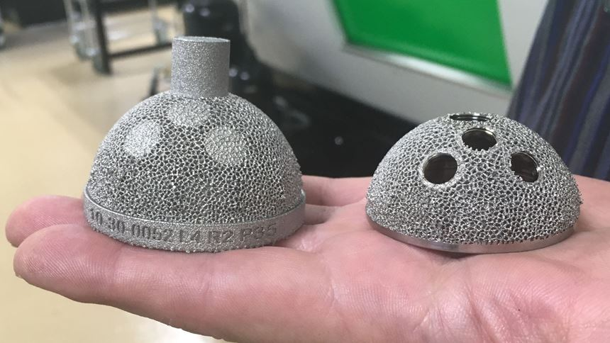 Hip cups before and after machining, showing the serial number built into the side