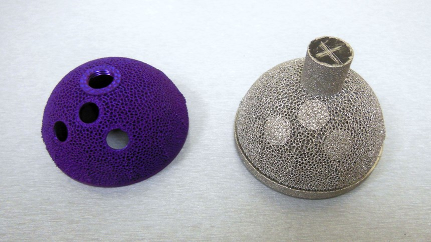 Hip cups, one straight from the 3D printer and another after anodizing and laser marking