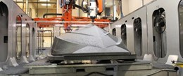 Thermwood LSAM machining the boat hull pattern.