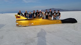 The Victory Motorsports team and its Streamliner at the Bonneville Salt Flats