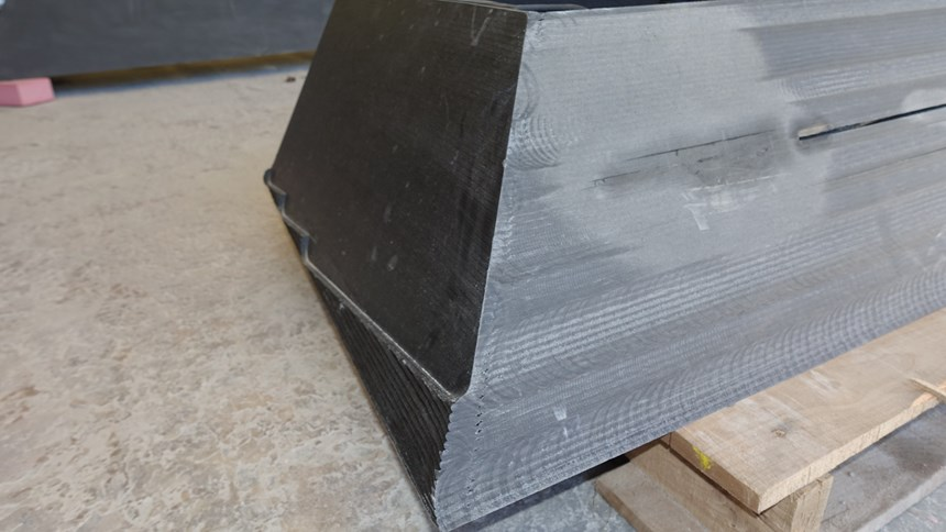 Prototype form showing machining and splitting