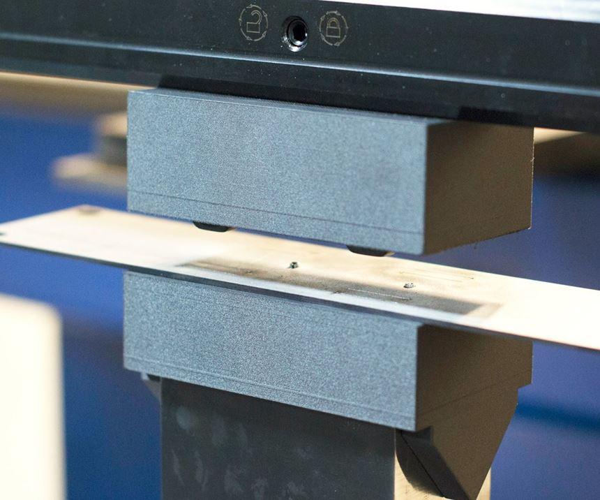 sheet metal on a 3D-printed press brake punch and die