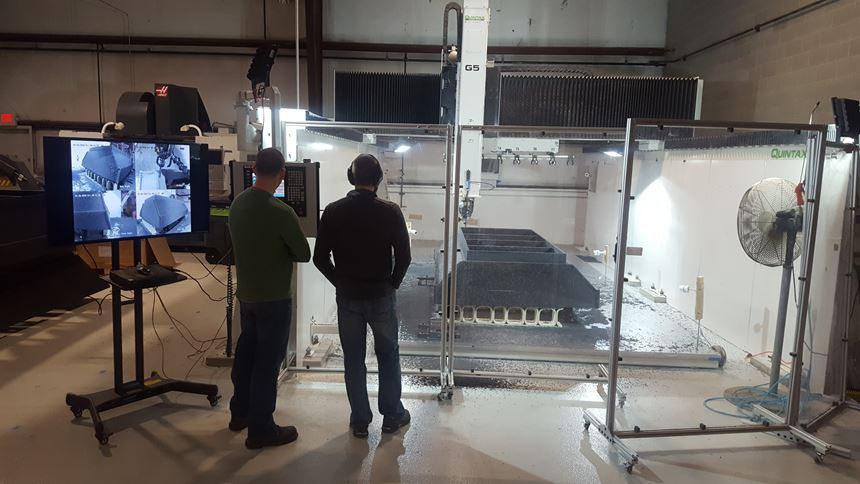 3d-printed concrete form being machined on AES's Quintax five-axis router