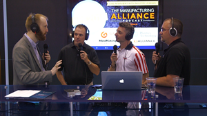 Tony Demakis, Rich Oles, William Sames and John Tenbusch recording an episode of the Manufacturing Alliance podcast in the Gardner Business Media booth at NPE 2018.