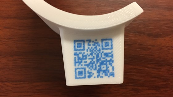Rize 3D-printed Digitally Augmented Part (DAP) with QR Code