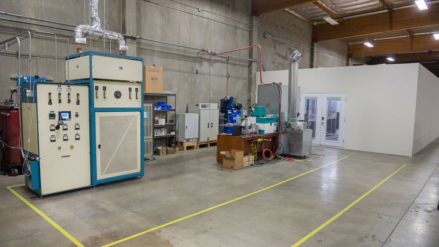 3DEO Gardena, California, facility interior showing sintering furnace and 3d printer pod