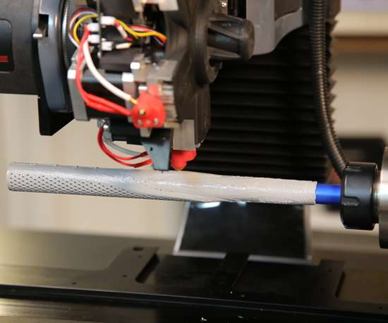 Diabase H-Series 3D printer printing with fourth axis rotary
