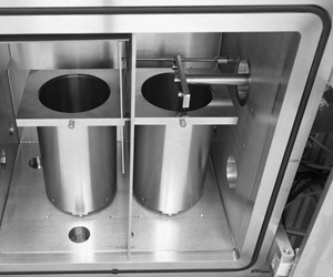 Interior of the Freemelt One electron beam melting (EBM) 3D printer