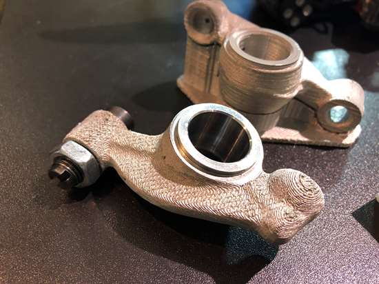 3D printed VW rocker arm made by Studio Fathom with Desktop Metal Studio System