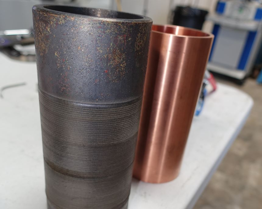 NASA blast vessel before and after cladding Inconel onto copper