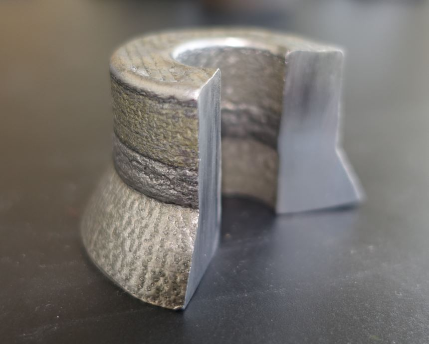 3D-printed part combining three different materials