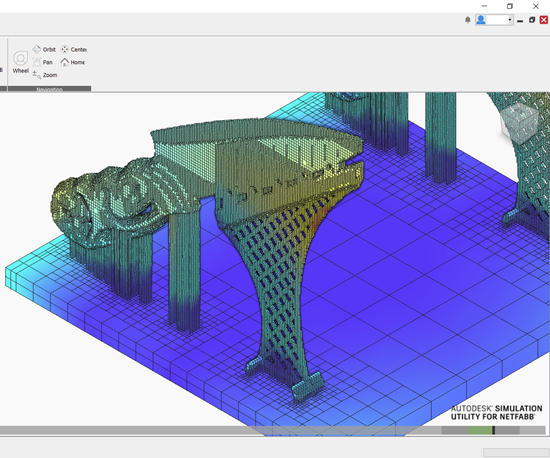 screenshot of 3D printed knives in Simulation Utility in Autodesk Netfabb