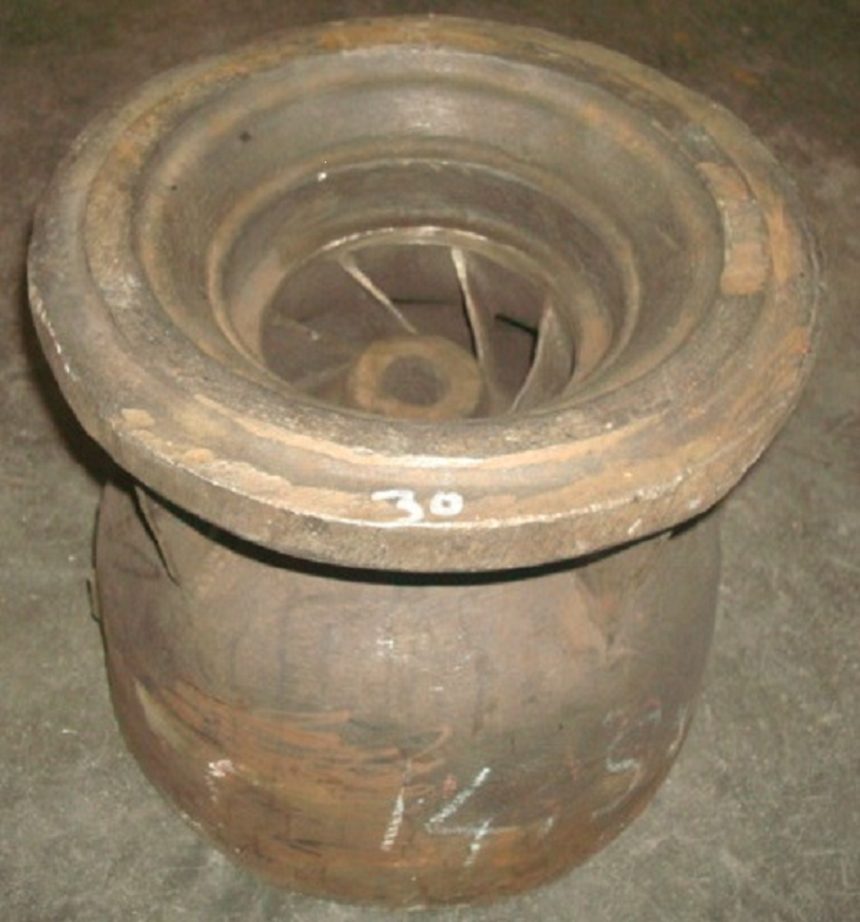 Pump bowl created via traditional metal casting