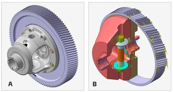 These are models of a) a conventional differential of front transverse transmission, and b) a package model of differential. All the inner contours needed by any function (bevel gears, side shafts, bearings, etc.) were subtracted from this body (Figure b).
